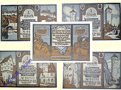 5 x Notgeld Rothenburg o. T. graublau , M/G 1242.5 german emergency money kfr