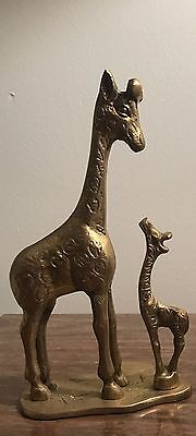 Brass Sculpture Giraffe Mother and Baby April the Giraffe With Mother Family