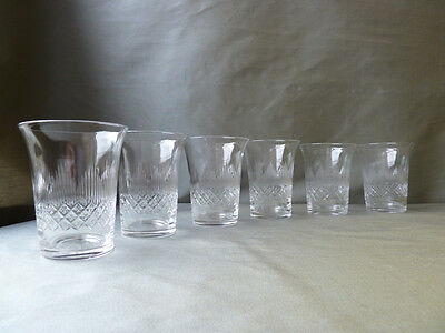 6 Antique John Walsh Walsh Cut Crystal 1/2 Size Whisky Glasses/Tumblers, h8,8cm