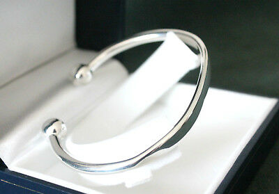925 Sterling Silver mens torque bangle