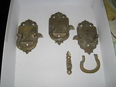 Antique Ice Box Hardware / Brass Latch Door Handles with One Catch
