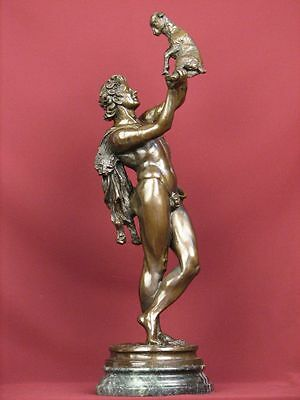 Signed Bronze Sculpture Mythology Nude Male Bacchus Statue Limited Edition
