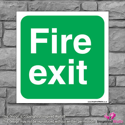 2x Fire Exit - Health & Safety Warning Prohibition Sign Sticker