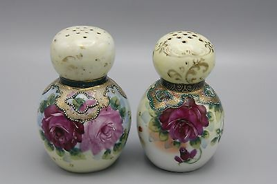 Antique Victorian Powder Shakers Porcelain Hand Painted Floral Roses