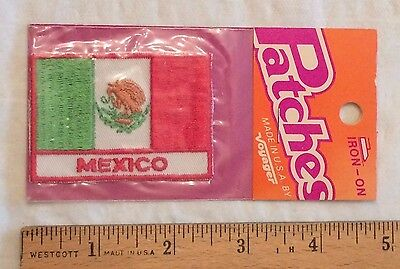 NIP Vintage MEXICO Souvenir Mexican Flag Patch Iron-on Badge by Voyager