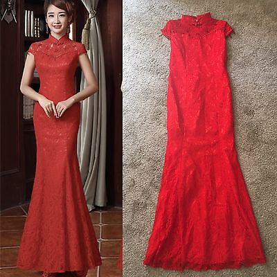 Red Lace Chinese Traditional Wedding Dress Qi Pao Cheongsam XS S 2 4