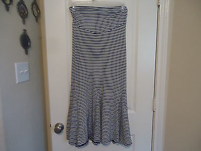 Old Navy Maternity Size XS Blue White Striped Polyester Blend Maxi Skirt Gored
