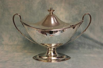Antique 1890 Silver plate Soup Tureen Urn on Tall Pedestal Foot Double Handled