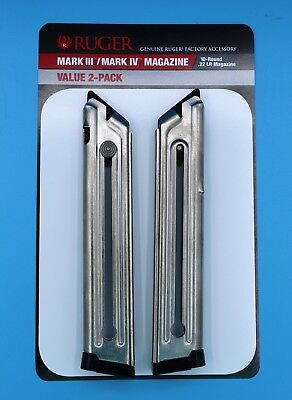 Ruger Mark III 3 and IV 4 Magazine 10-Round 22-LR Value 2-Pack 90645 OEM Mag New