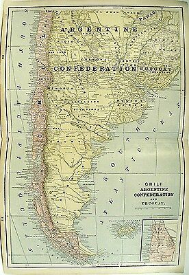 c 1850 Map of Chile Argentine Uruguay Full Color Lithograph Engraving + Peru ++