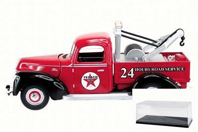 Diecast Car w/Case-1940 Ford Tow Truck Texaco Red Texaco 0607R 1/18 Scale Dieca