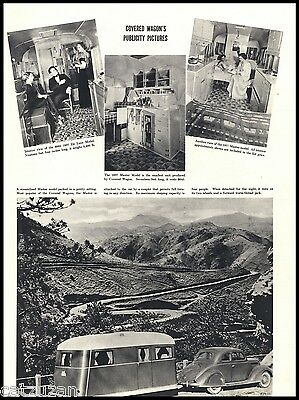 1937 Streamlined Deluxe Master Trailer Publicity Photos Covered Wagons Print AD