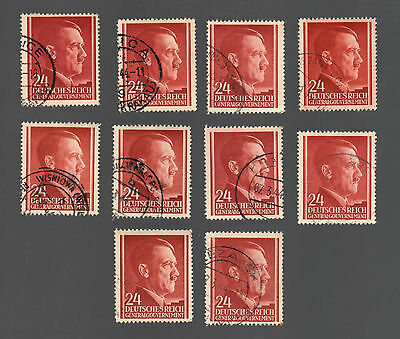 WWII Occupied Poland - Lot of 10 Stamps 24 Grosze with Hitler's Head - #7