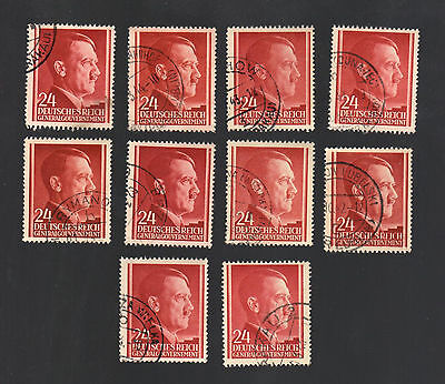 WWII Occupied Poland - Lot of 10 Stamps 24 Grosze with Hitler's Head - #9