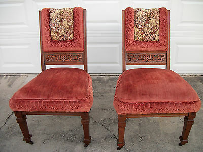 Pair of Ornate Victorian Walnut Eastlake Parlor Chairs 1800's