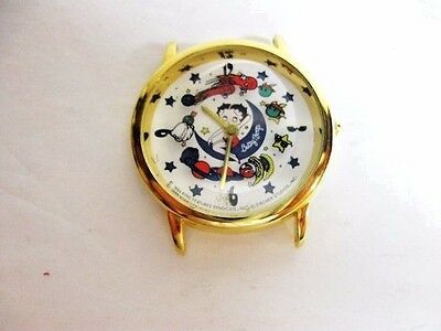 RARE! 1994 BETTY BOOP Watch MOON & STARS / icons Second Wheel  runs, NEW Battery