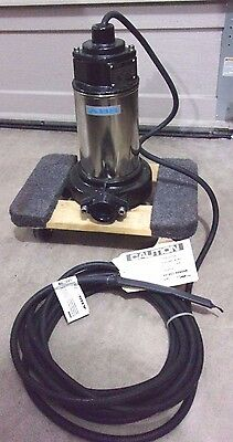 New 2Hp Abs Piranha V2 Submersible Vortex Grinder Pump, 460 Vac, 3 Phase, 1-1/4