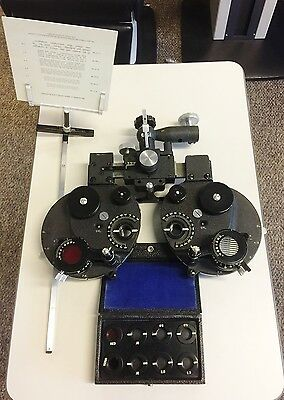 B&L Bausch & Lomb Greens Refractor Phoropter Plus Cyl. Reading Rod & Aux Lenses.