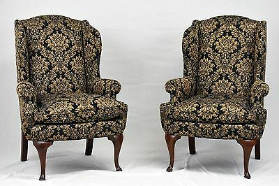Pair of Wing Back Chairs Damask Fabric by United Furniture Williamsburg Style