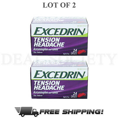 Excedrin Tension Headache Acetaminophen  -24 Caplets - Exp 09/2017- Lot of 2