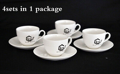 New 4 pcs set white bone china coffee cups with saucers tea cup sets 220ml