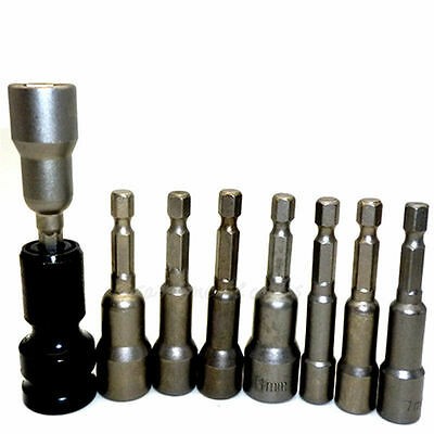 """8pc Magnetic Nut Driver Bit Hex Shank Socket Bit w/ 1/2"""" Dr. To 1/4"""" Hex Adapter"""