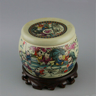 Chinese Asian Children Antique Porcelain Pot Decorated Old Jar with Lid #11
