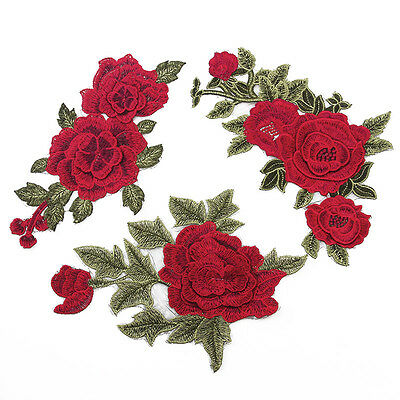 3D Rose Flower Applique Sew on/Iron on Patches Embroidered Badge Dress Sewing