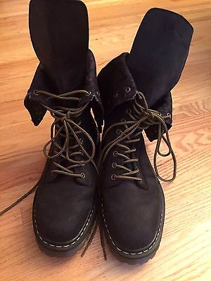 "Dr. Martens ""Aleina"" Black Leather Floral Flap Combat Boots Women's Size 11 L"