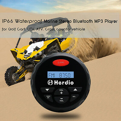 12v Marine Car Audio Waterproof Boat Bluetooth Black Outdoor SPA Player Stereo