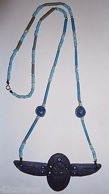 ANCIENT EGYPTIAN Lapis Flying Scarab 650/500BC with FAIENCE & 14K Gold BEADS
