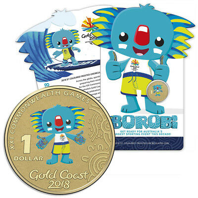 NEW RA Mint XXI Commonwealth Games Borobi 2018 $1 Colored Coin