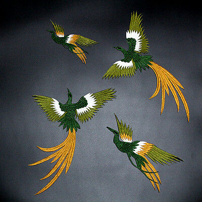4pcs Phoenix Applique Sew on/Iron on Patches Birds Badge Embroidered Sewing DIY