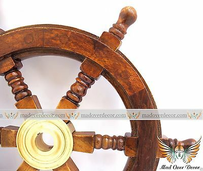 "Antique Wooden Maritime Decor 15"" Captains Shipwheel Ships Wheel Steering Helm"
