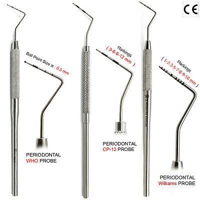 MEDENTRA® 3Pcs Diagnostic Periodontal Pocket Depths Probe WHO Williams CP-12 Lab