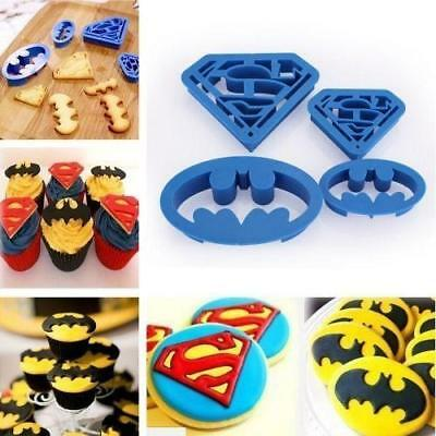 4Pcs Super Hero Batman Superman Cookie Cutter Sugarcraft Cake Decoration Set LH