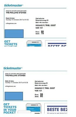 Two Rolling Stones Tickets Arnhem Sunday October 15. Well situated.