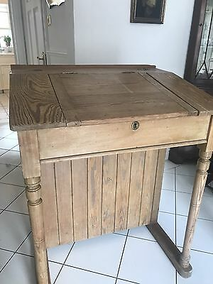 Antique Wooden Old School Writing Desk / Lectern