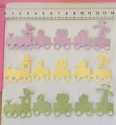 Die Cuts! 6 Pc 'Baby Train w/Animals' Embellishment Boy Girl Mauve/Yellow/Green