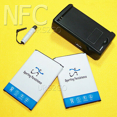 2x 5780mAh NFC Battery Wall Charger Stylus for Samsung Galaxy Note 3 N900P Phone