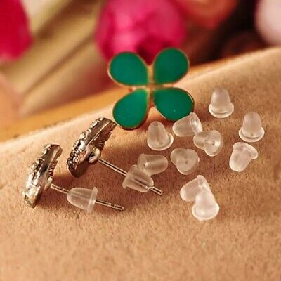 40x Plastic Bullet Earring Post Backs Clear Transparent Findings Stopper Plugs