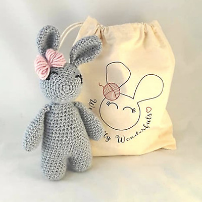 Crochet Kit - Bunny Rabbit Luxury Grey Wool Crochet Kit Craft Christmas Gift
