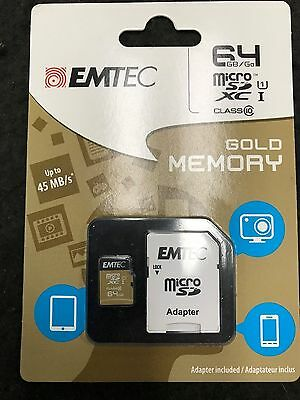 BRAND NEW SEALED Emtec 64GB Micro SDXC Class 10 Gold Memory Card Free Shipping
