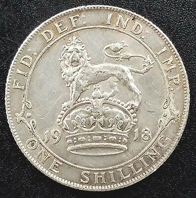 1918 One Shilling Silver coin from Great Britain! King George V!