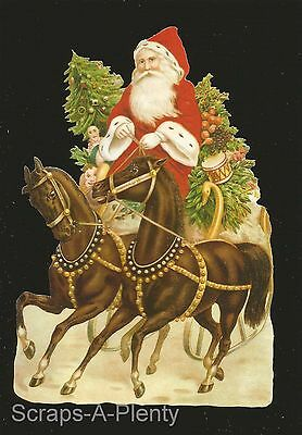German Embossed Vintage Style Scrap Die Cut - Large Christmas Santa Horse BK5125