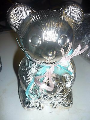 Christening Gift  Silver Plated Teddy Bear Money Box