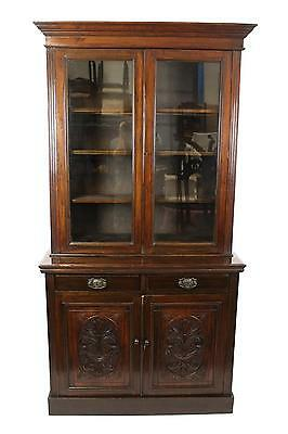 Antique Walnut Glazed Cupboard Dresser Bookcase Display Cabinet - FREE DELIVERY