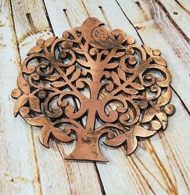 Vintage Partridge in a Pear Tree Footed Trivet Decor Cast-Iron Brushed Copper