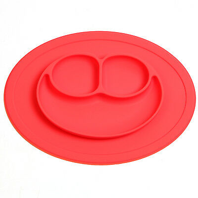 Baby Kid Silicone Mat Dish Food Tray Plate Durable Microwave Safe Red Happy Dish