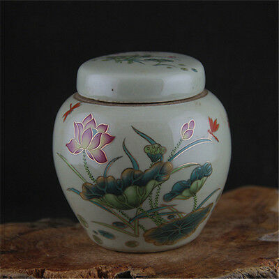 Chinese Asian Lotus Floral Antique Porcelain Pot Decorated Old Jar with Lid #105